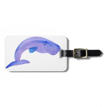 Beach Themed Purple Sperm Whale Luggage Tag
