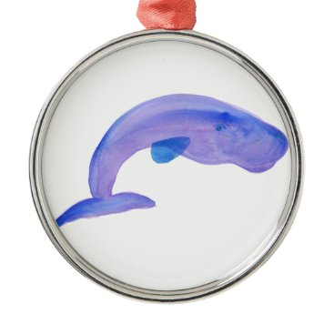 Beach Themed Purple Sperm Whale Metal Ornament