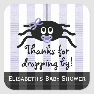 Purple Spider Baby Shower Thank You Stickers