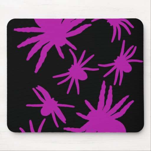 Purple Spiders With Black Background Mouse Pad