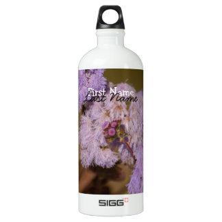 Purple Spiky Flower; Customizable Aluminum Water Bottle