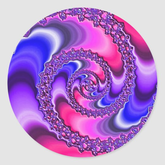 Purple Spiral Classic Round Sticker