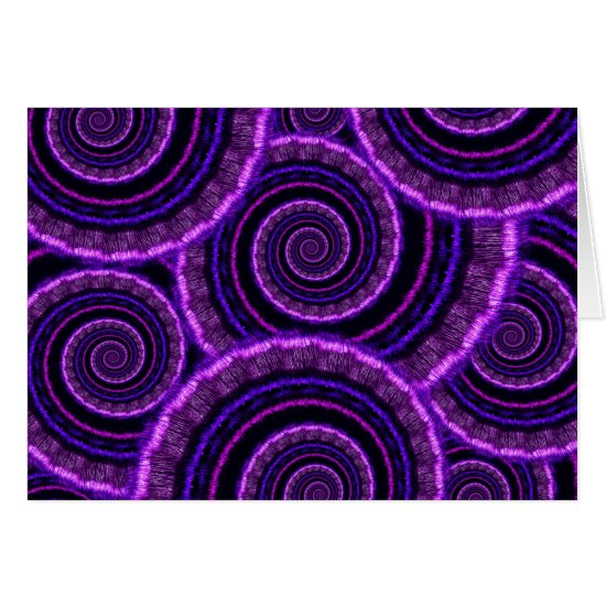 Purple Spiral Fractal Art Pattern Card
