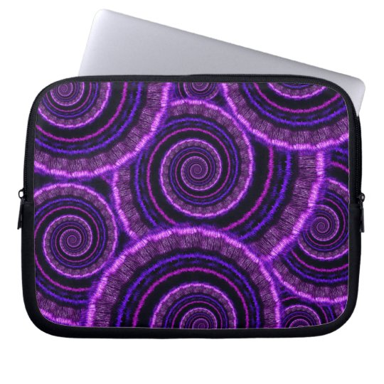 Purple Spiral Fractal Art Pattern Computer Sleeve