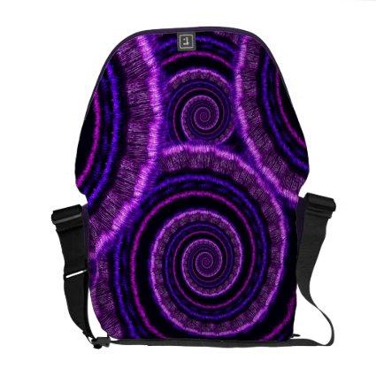 Purple Spiral Fractal Art Pattern Courier Bags