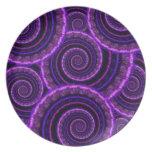 Purple Spiral Fractal Art Pattern Dinner Plate