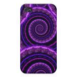 Purple Spiral Fractal Art Pattern iPhone 4/4S Cases