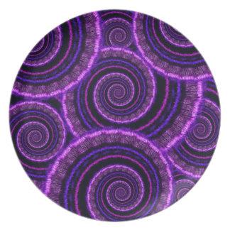 Purple Spiral Fractal Art Pattern Melamine Plate