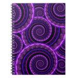 Purple Spiral Fractal Art Pattern Spiral Notebooks