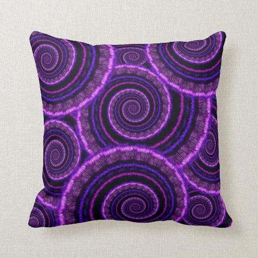 Purple Spiral Fractal Art Pattern Throw Pillow