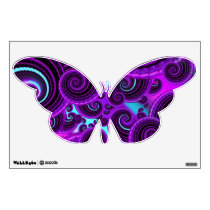 Purple Spiral Fractal Art Pattern Wall Decal