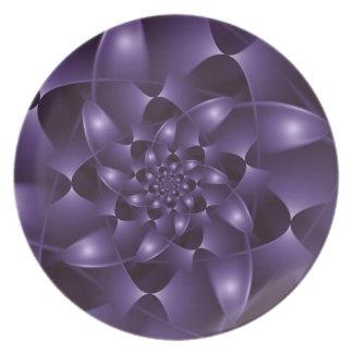 Purple Spiral Fractal  Plate