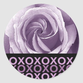 PURPLE Spiral Rose Sticker With Hugs and Kisses