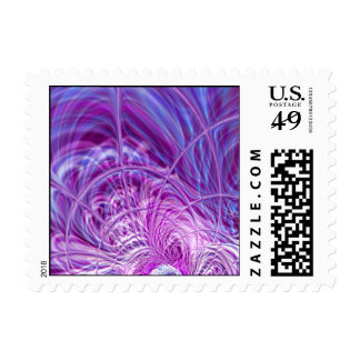 Purple Spiraling Abstract Wormhole Postage Stamp