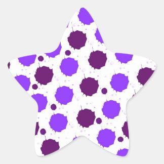 Purple Splash Dots Star Sticker