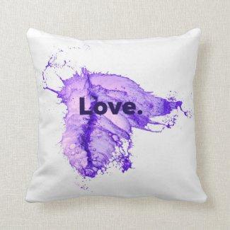 Purple Splash LOVE pillow