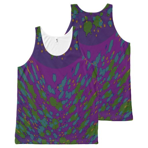 Purple Splatter Abstract Design All-Over Print Tank Top Tank Tops, Tanktops Shirts