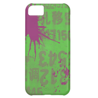 purple splatter on green case for iPhone 5C