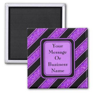 Purple Sponge Paint Stripes 2 Inch Square Magnet