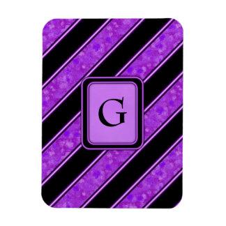 Purple Sponge Paint Stripes Rectangular Photo Magnet