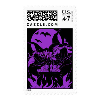 purple Spooky Witches Halloween Postage Stamp
