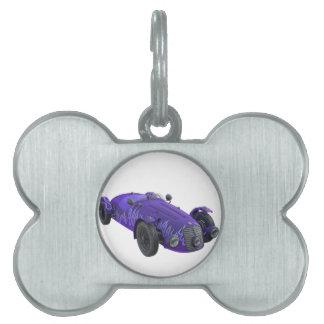 Purple Sports Car Pet Name Tag