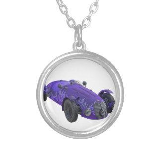 Purple Sports Car Round Pendant Necklace