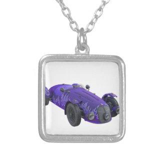 Purple Sports Car Square Pendant Necklace