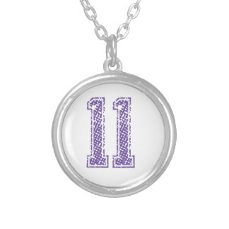 Purple Sports Jerzee Number 11.png Silver Plated Necklace