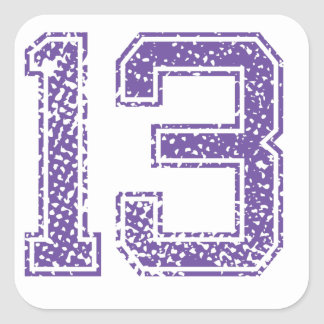 Purple Sports Jerzee Number 13.png Square Sticker