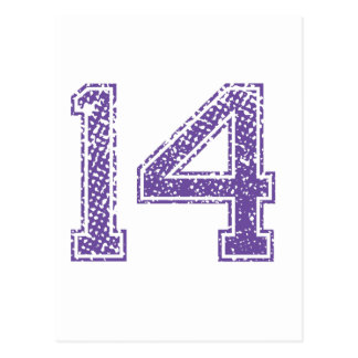 Purple Sports Jerzee Number 14.png Postcard