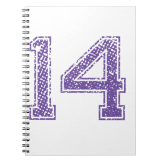 Purple Sports Jerzee Number 14.png Spiral Notebook