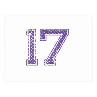 Purple Sports Jerzee Number 17.png Postcard