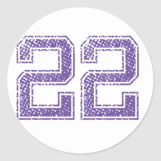 Purple Sports Jerzee Number 22.png Classic Round Sticker