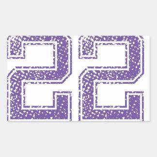Purple Sports Jerzee Number 22.png Rectangular Sticker