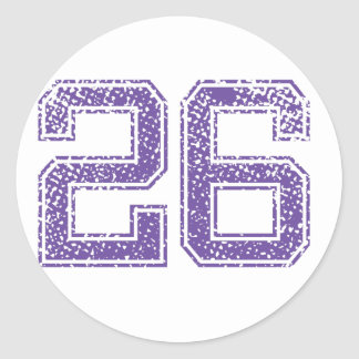 Purple Sports Jerzee Number 26.png Classic Round Sticker