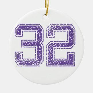 Purple Sports Jerzee Number 32.png Ceramic Ornament