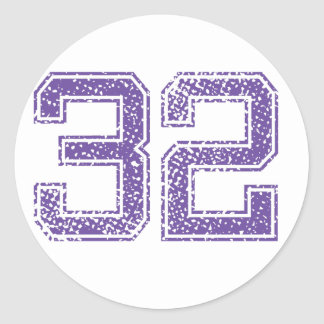 Purple Sports Jerzee Number 32.png Classic Round Sticker