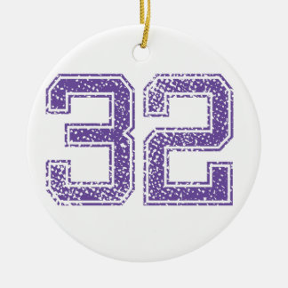 Purple Sports Jerzee Number 32.png Double-Sided Ceramic Round Christmas Ornament