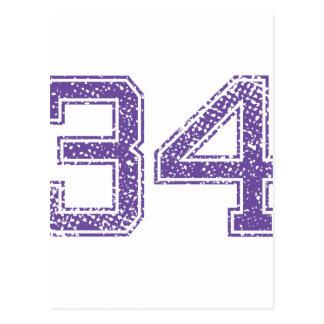 Purple Sports Jerzee Number 34.png Postcard