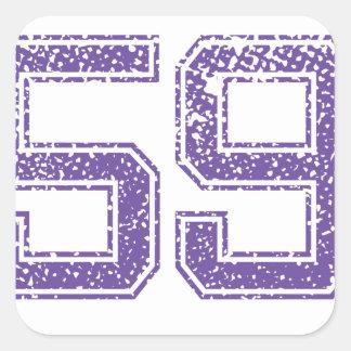 Purple Sports Jerzee Number 59.png Square Sticker
