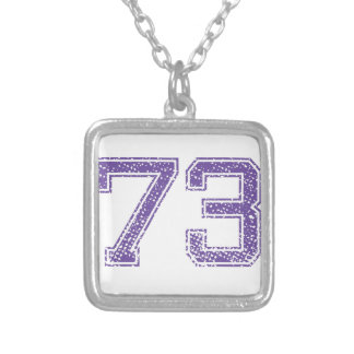Purple Sports Jerzee Number 73.png Silver Plated Necklace