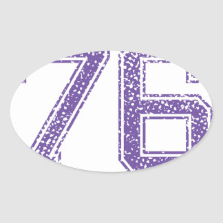 Purple Sports Jerzee Number 76.png Oval Sticker