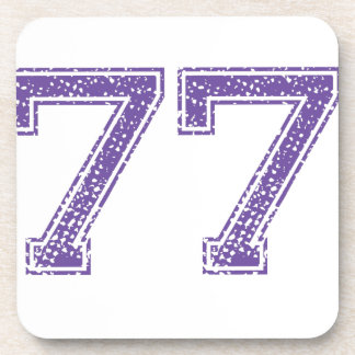 Purple Sports Jerzee Number 77.png Beverage Coaster