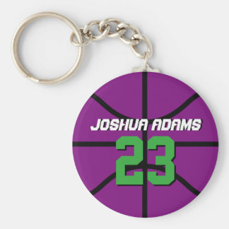 Purple Sports Team Athletes Basketball Keychain