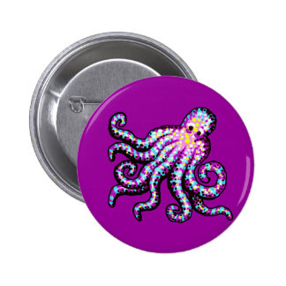Purple Spotted Octopus Button