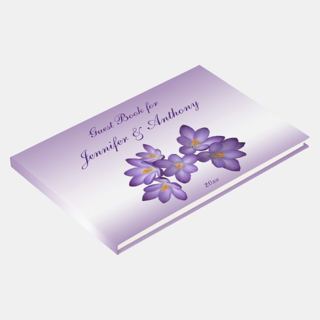 Purple Spring Crocus Floral Wedding Guest Book