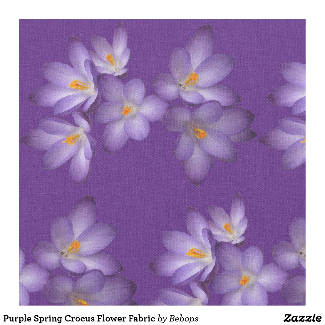 Purple Spring Crocus Flower Fabric