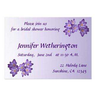 Purple Spring Floral Bridal Shower Invitation