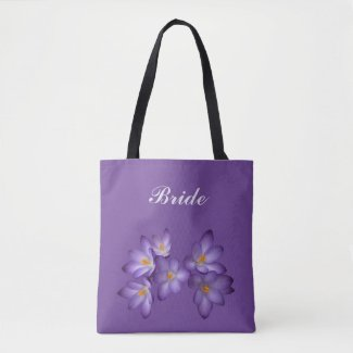 Purple Spring Floral Bridal Wedding Tote Bag